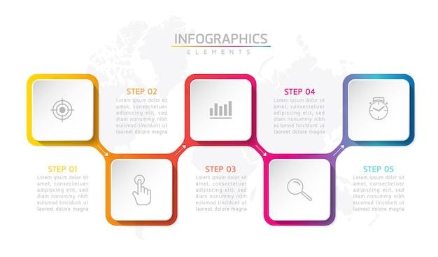 Design de modelo de elementos de infográfico de forma quadrada para negócios