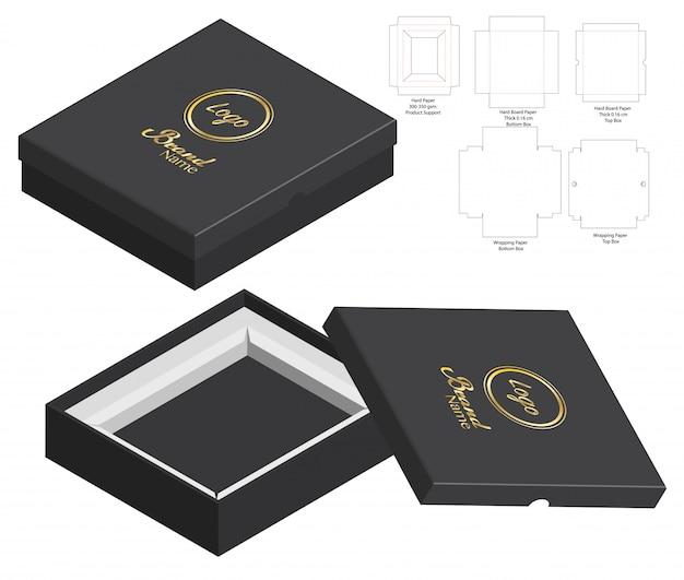 Design de modelo de embalagem de caixa rígida