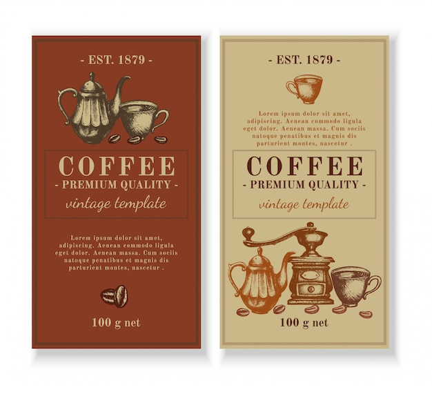 Design de modelo de embalagem para rótulo de café