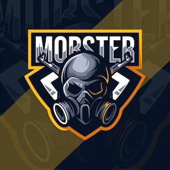 Design de modelo de esporte de logotipo de mascote mafioso