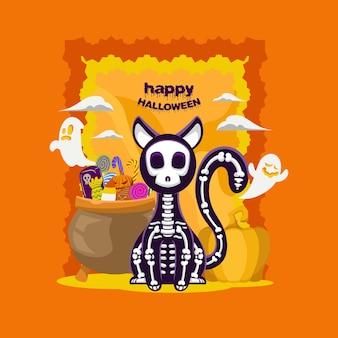 Design de modelo de esqueleto de gato engraçado bonito de banner de halloween