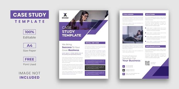 Design de modelo de estudo de caso de negócios com 2 páginas