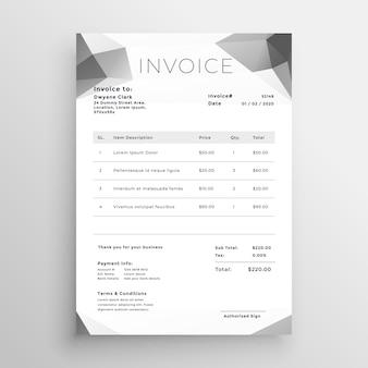 Design de modelo de factura abstrata cinza