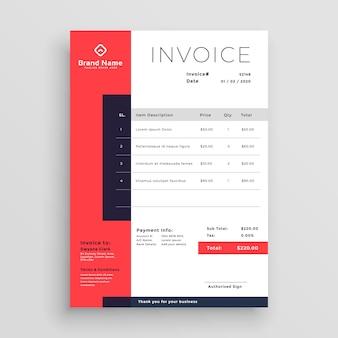 Design de modelo de factura de negócios vermelho