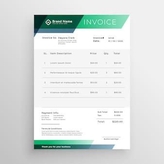 Design de modelo de factura geométrica verde profissional