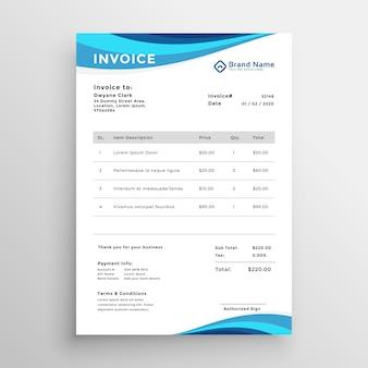 Design de modelo de fatura de negócios azul
