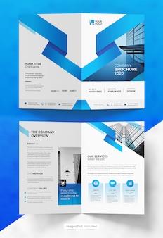 Design de modelo de folheto abstrato bifold