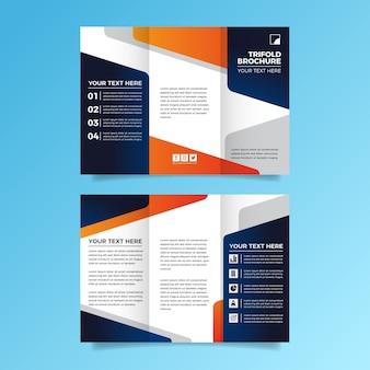 Design de modelo de folheto abstrato com três dobras