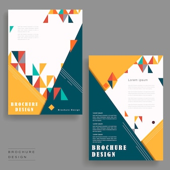 Design de modelo de folheto alegre com elemento de triângulos