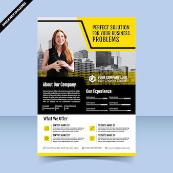 Design de modelo de folheto amarelo preto moderno para agência de soluções de negócios