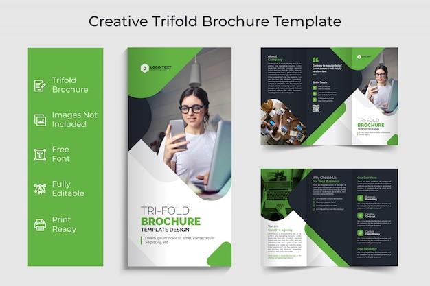 Design de modelo de folheto com três dobras de negócios criativos