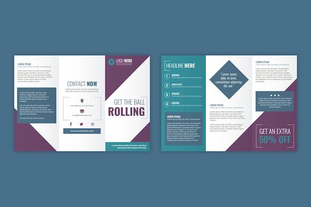 Design de modelo de folheto com três dobras