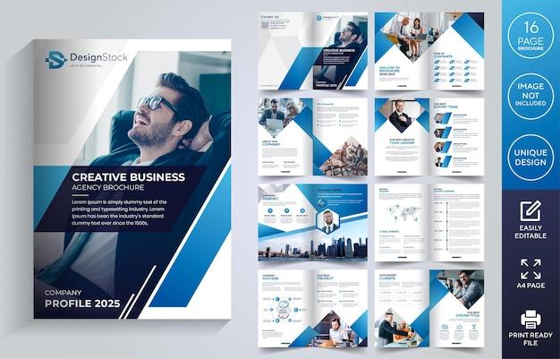 Design de modelo de folheto corporativo de 16 páginas