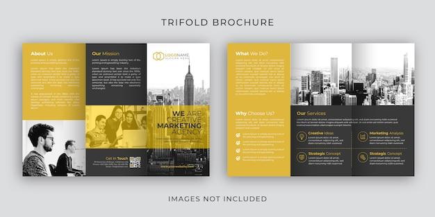Design de modelo de folheto corporativo dobrável em três partes