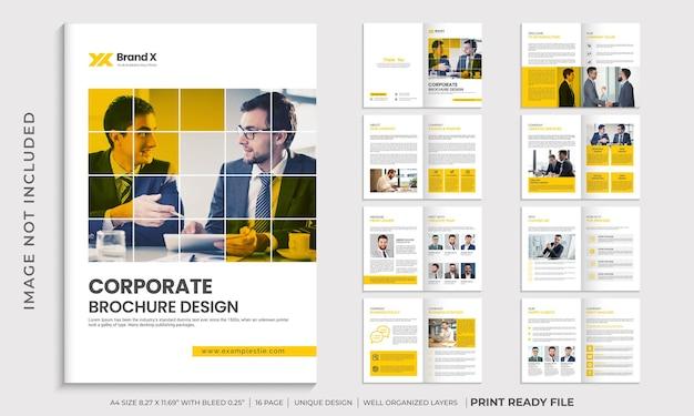 Design de modelo de folheto corporativo minimalista com várias páginas