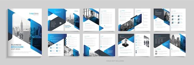 Design de modelo de folheto corporativo moderno de 16 páginas com vetor premium de layout moderno