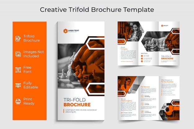 Design de modelo de folheto criativo corporativo com três dobras