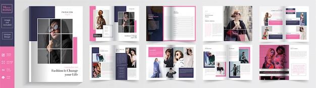 Design de modelo de folheto de 16 páginas de moda
