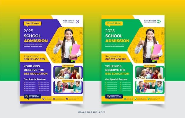Design de modelo de folheto de admissão para educação escolar infantil