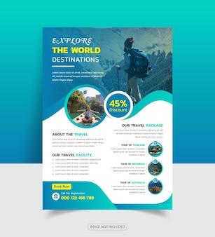 Design de modelo de folheto de agência de turismo de viagens