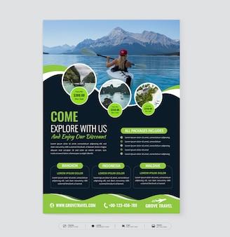 design de modelo de folheto de agência de viagens com foto