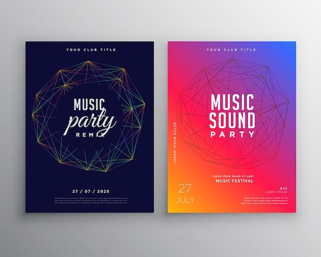 Design de modelo de folheto de festa de música com malha de linhas digitais