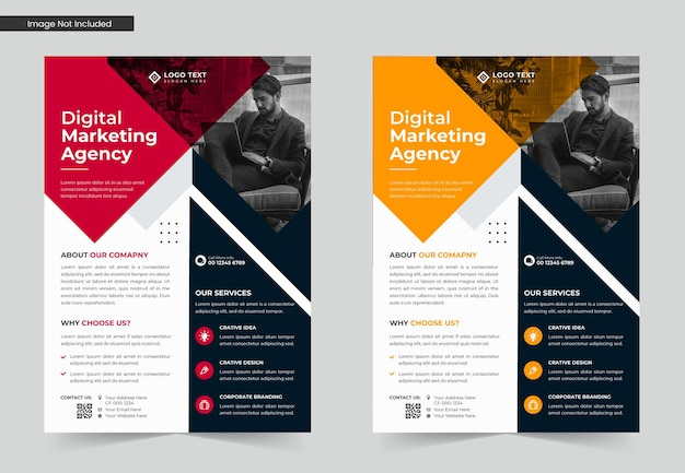 Design de modelo de folheto de marketing digital e negócios corporativos