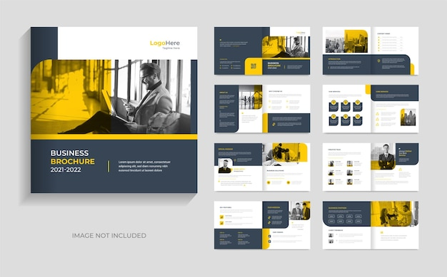Design de modelo de folheto de negócios mínimo moderno formas amarelas vetor premium