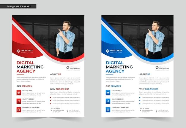 Design de modelo de folheto de negócios para agência de marketing digital ou modelo de folheto a4
