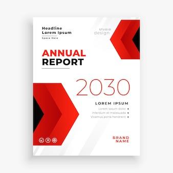 Design de modelo de folheto de negócios para relatório anual vermelho moderno