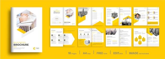 Design de modelo de folheto de perfil de empresa mínimo com formas amarelas