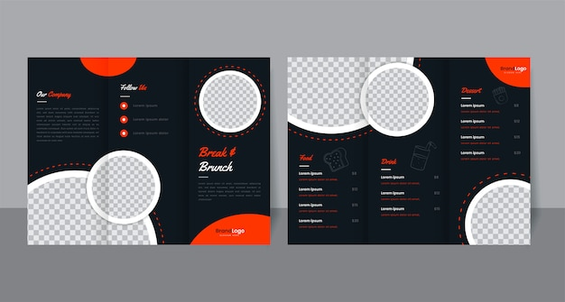 Design de modelo de folheto de restaurante dobrável em três partes.
