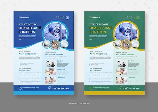 Design de modelo de folheto de saúde e médicos