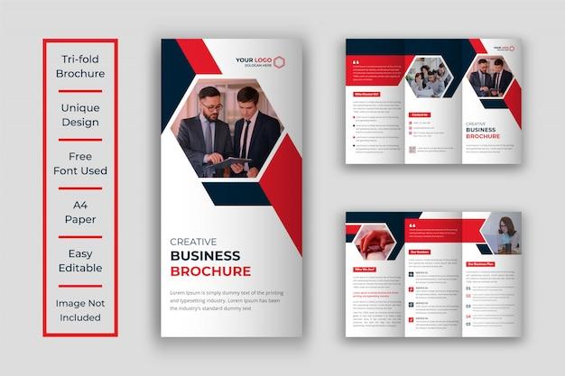 Design de modelo de folheto dobrável em três partes do negócio