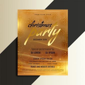 Design de modelo de folheto dourado de festa de natal
