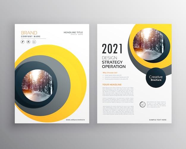 Design de modelo de folheto empresarial amarelo elegante com formas de círculo