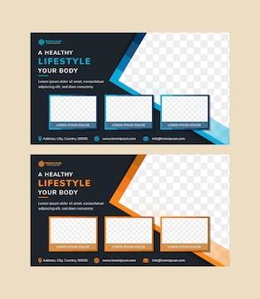 Design de modelo de folheto geométrico abstrato para promoção de estilo de vida saudável duas cores de variação para escolher são triângulo plano azul e laranja e forma de retângulo de espaço para foto de fundo escuro