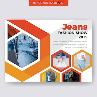 Design de modelo de folheto horizontal de moda