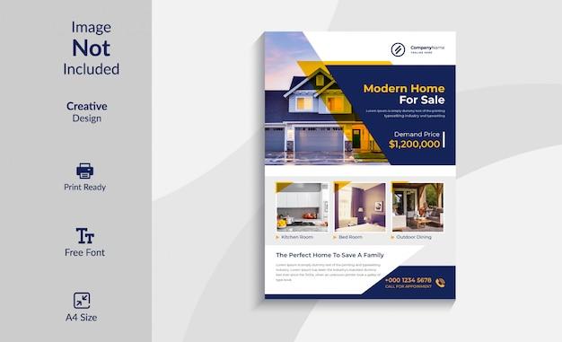 Design de modelo de folheto imobiliário