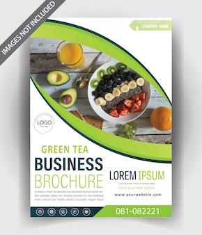 Design de modelo de folheto moderno com cor verde