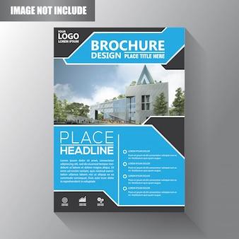 Design de modelo de folheto ou panfleto com cor azul e preto