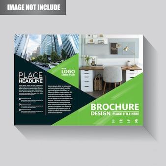 Design de modelo de folheto ou panfleto com cor verde e preto