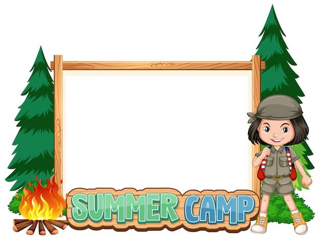 Design de modelo de fronteira com a garota no acampamento de verão