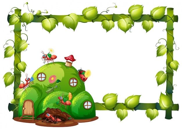 Design de modelo de fronteira com insetos no fundo do jardim