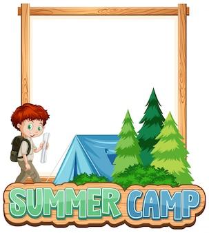 Design de modelo de fronteira com menino no acampamento de verão