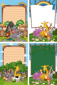 Design de modelo de fronteira com muitos animais selvagens no fundo