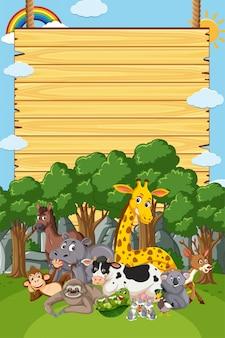 Design de modelo de fronteira com muitos animais selvagens