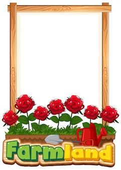 Design de modelo de fronteira com rosas vermelhas no jardim