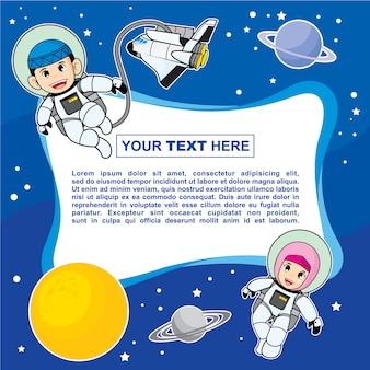 Design de modelo de fundo líquido colorido com tema de crianças muçulmano astronauta