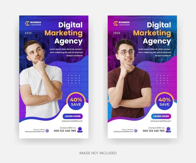 Design de modelo de história do instagram de marketing digital